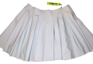 Sam Edelman Faux Leather Pleated Skirt Mint Green
