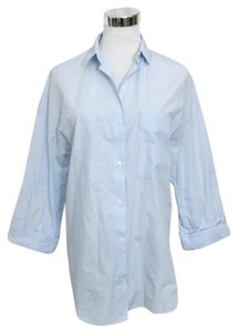 Zara Trafaluc Collection Shirt Classic Blouse 3/4 Sleeves Button Down Shirt Light Blue