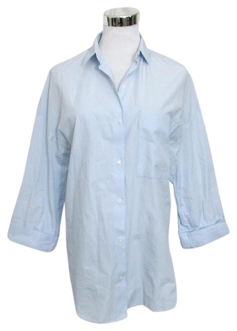 Item - Light Blue Trafaluc Collection Classic 3/4 Sleeve Shirt Button-down Top Size 2 (XS)