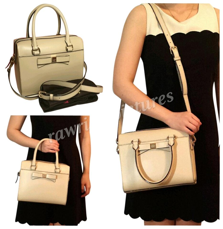 9d864a5907b Kate Spade Crossbody Montford Park Ashton Bow Smooth Leather Beige Satchel  38% off retail