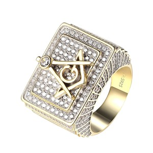 Other 14k Gold Finish Freemason Masonic G Ring Iced Out Sterling Silver