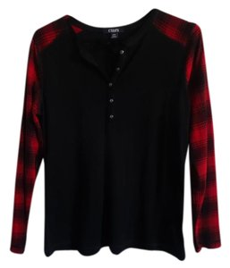 Chaps T Shirt Black w/red plaid sleeves