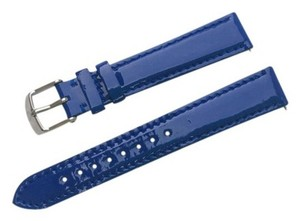 Michele 16mm Cobalt Blue Patent Leather Watch Band Strap MS16AA050404