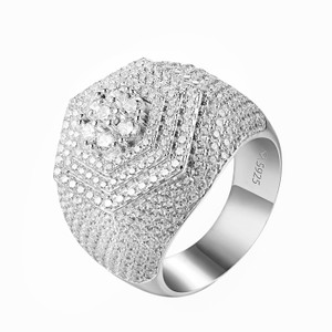 Other Men Hip Hop Ring Solitaire Cluster Set Simulated Diamonds 925 Silver