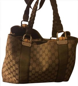 Gucci Monogram Canvas Bamboo Leather Shoulder Bag