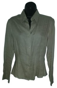 Other Irish Linen Linen Fitted Long Sleeve Button Down Shirt Brown