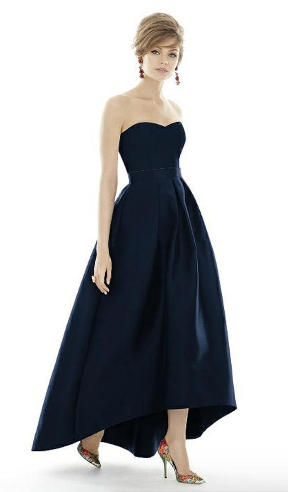 bd4e367f890 Alfred Sung Midnight Blue Sateen Twill Style D699- Bodice and Skirt Formal  Bridesmaid Mob Dress