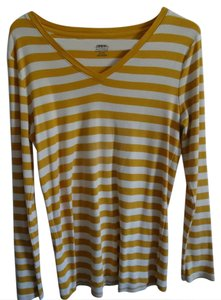 Merona T Shirt Mustard Yellow and white striped