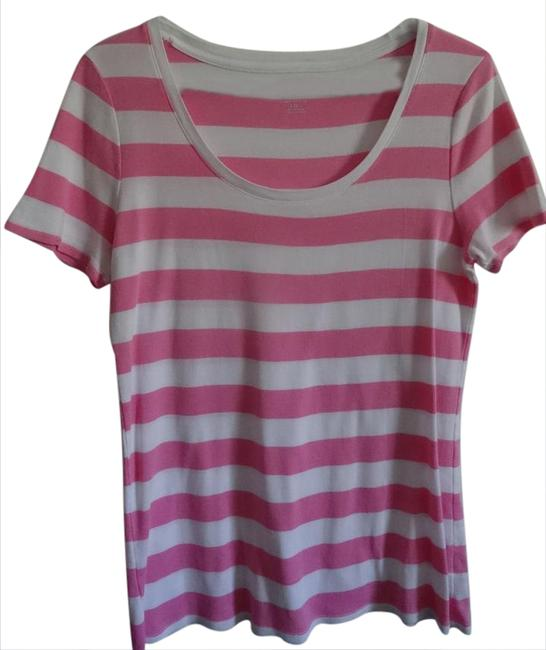 Preload https://img-static.tradesy.com/item/20887608/merona-pink-and-white-striped-tee-shirt-size-12-l-0-1-650-650.jpg