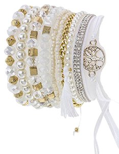 Aris Bohemian Beaded & Charm Stretch Bracelet #B01DX0MA56