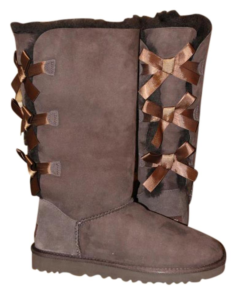 091b338bc90 UGG Australia Chocolate Brown Bailey Bow Tall Suede and Shearling  Boots/Booties Size US 9 Regular (M, B) 28% off retail