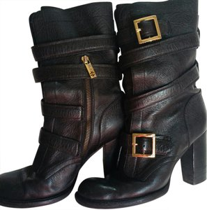 Tory Burch Motorcycle Leather Gold Hardware Black Boots
