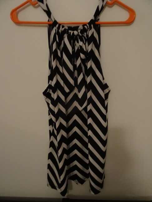 Cynthia Rowley Black and White striped Halter Top