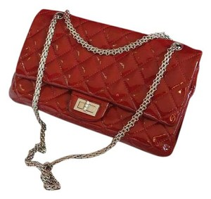 Chanel Lambskin Quilted Chain Patent Leather Shoulder Bag