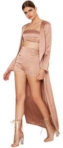 Nasty Gal Satin High Waist Bossa Australia Gold Mini/Short Shorts