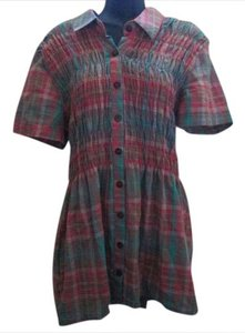 Maurices Plus Size Plaid Smocked Spring Summer Tunic