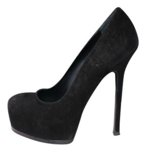 Saint Laurent Platform Suede Leather Hidden Platform Black Pumps
