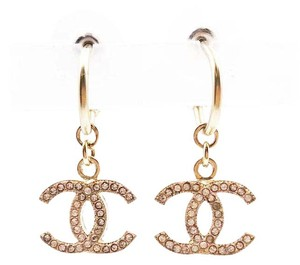 Chanel Chanel Gold CC Pearl Dangle Piercing Earrings