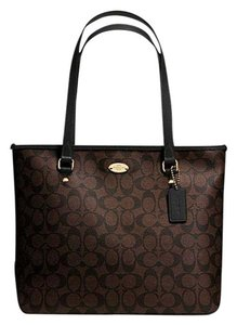 Coach Zip Top City F58294 Tote in Dark Brown