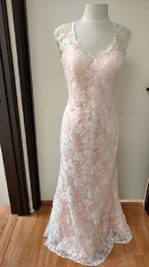 Impression Bridal Ivory Lace/Coral Underlay Overlay/ Polyester 20232 Formal Bridesmaid/Mob Dress Size 12 (L)