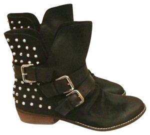 Dolce Vita Malika Black Suede Studded Motorcycle Boots Ankle Booties *new* Black, Silver Boots