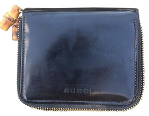 Gucci Gucci Nymphaea Patent Leather Bamboo Zipper Wallet