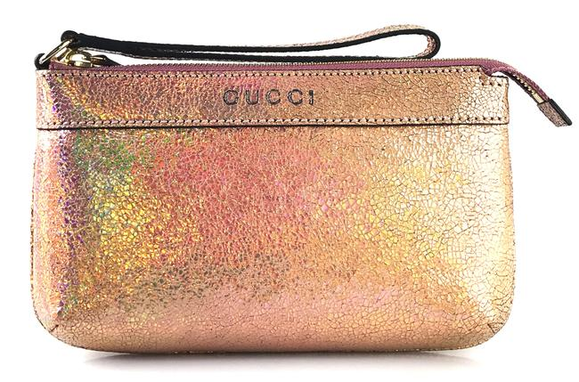 Item - Textured Small Holographic Pink Leather Wristlet