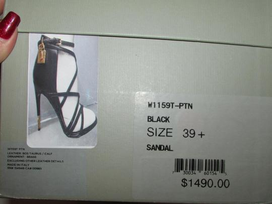 Tom Ford Black Patent Ankle Wrap Sandals