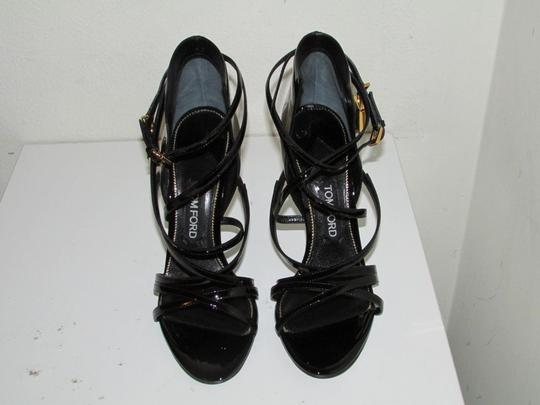 Tom Ford Black Patent Ankle-Wrap Sandals
