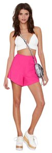Finders Keepers Flared Zipper Dress Shorts Pink