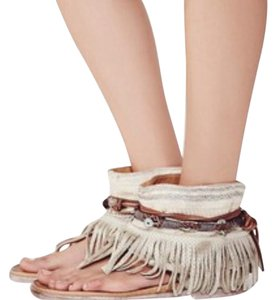 Free People Embellished Embellished Leather Fringe Pearl Sandals