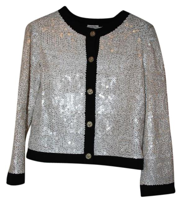 Chanel White Silver Sequins Blk Trim Sweater Chanel White Silver Sequins Blk Trim Sweater Image 1