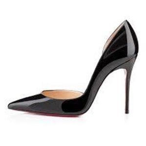 Christian Louboutin Heels Iriza D'orsay Patent Leather Black Pumps