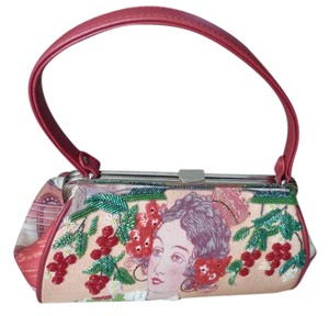 Isabella Fiore Retro Beading Sequins Printed Canvas Leather Baguette