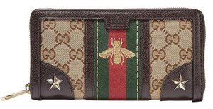 Gucci New Gucci Vintage Web Bee Embroidered Wallet