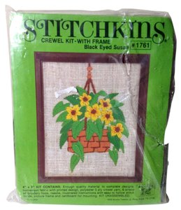 Stitchkins NEW Vintage Black Eyed Susan Flowers Basket Crewel Kit 1978 Made USA With Frame