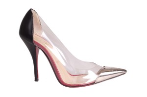 Christian Louboutin Metal Toe Red Bottoms clear Pumps