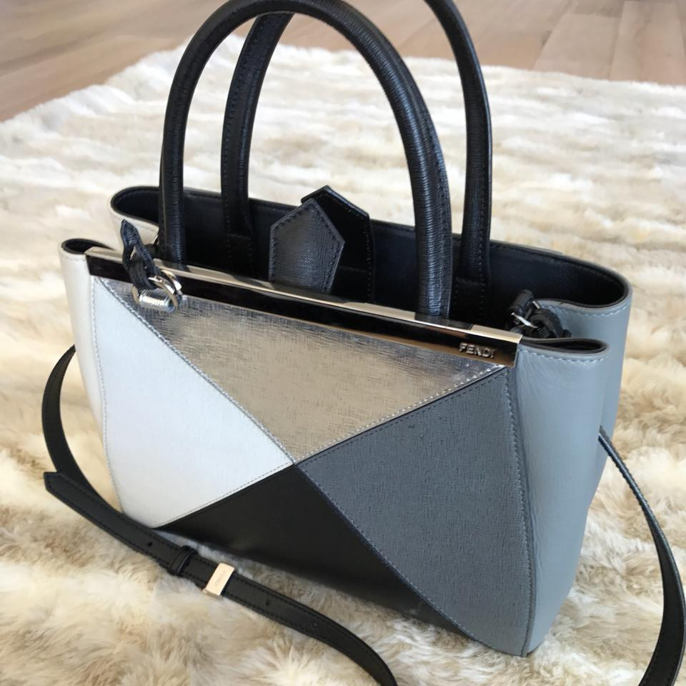 Silver Petite Fendi Leather Gray Satchel Black 2jour wqB5trxnBg