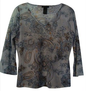 The Limited Blue V-neck Paisley Diamond Sequin Top Light Blue