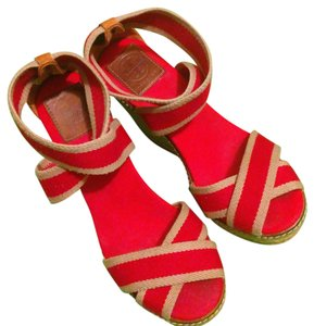 Tory Burch Red and Tube color Wedges