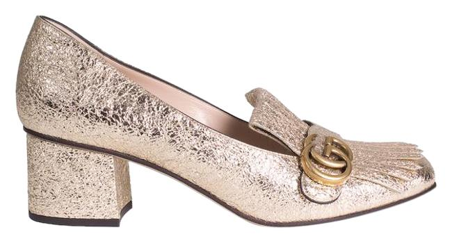 Item - Gold Metallic Heeled Loafers Formal Shoes Size US 10