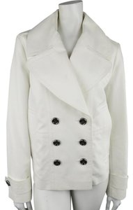 Burberry London Double Breasted Cropped Metallic Pleated Pea Coat