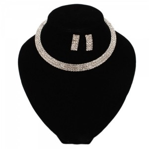 Rhinestone Cuff Style Choker Necklace & Earring Bridal Jewelry 3pc Set