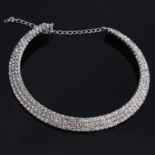 Silver Tone Rhinestone Cuff Style Choker Necklace Earring 3pc Jewelry Set