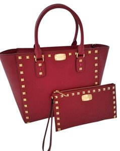 Michael Kors Mk Satchel Studded Crossbody Strap Wristlet/clutch Red Tote in Cherry Red
