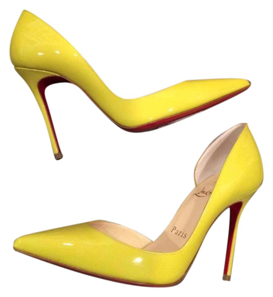 huge selection of 53d87 87be6 Christian Louboutin Mimosa (Yellow) Iriza 100 Patent Leather D'orsay  Sandals Pumps Size EU 35 (Approx. US 5) Regular (M, B) 31% off retail