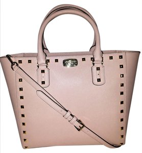 Michael Kors Mk Satchel Studded Crossbody Strap Wristlet/clutch Tote in Pink