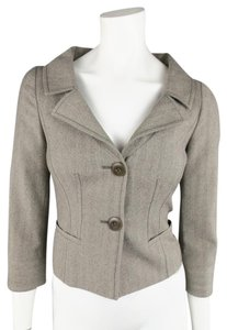 Valentino Herringbone Cropped Slit Cuffs Notch Lapel Gray Blazer