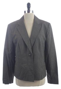 Nine West Pinstripe Suit Jacket Work Career Gray Blazer