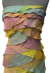 metro section short dress pink yellow blue on Tradesy